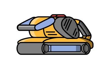 Belt grinder construction electric tool. Flat style icon of belt grinder. Vector illustration.