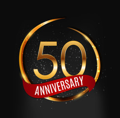 Template Gold Logo 50 Years Anniversary with Red Ribbon Vector Illustration