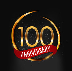 Template Gold Logo 100 Years Anniversary with Red Ribbon Vector Illustration