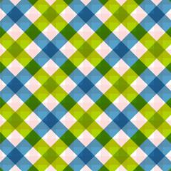 Blue green diagonal checkered plaid Retro tablecloth texture