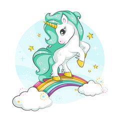 Little pony. Cute magical unicorn and rainbow. Vector design isolated on white background. Print for t-shirt or sticker. Romantic hand drawing illustration for children.
