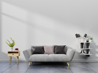Modern living room interior with sofa and green plants,lamp,table on white wall background. 3d rendering.