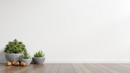 Modern empty room with plants on floor wooden,3d rendering