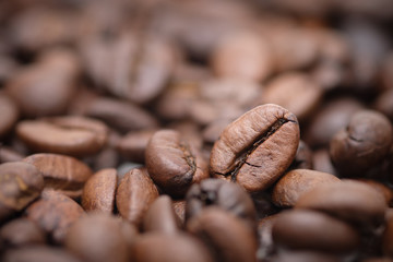 Close up - roasted coffee beans as a background composition, can be used as a background.