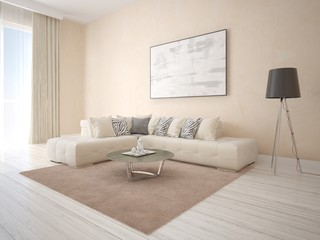 Mock up an exclusive living room with a corner beige sofa and decorative plaster.