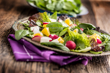 Spinach Salad. Fresh spinach salad with fruit and vegetable
