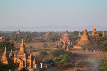 Many temples, pagodas and stupas at the ancient plain of Bagan viewed from the Shinbinthalyaung Temple in Myanmar (Burma), in the morning.