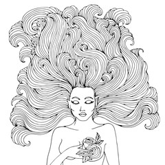 Vector hand drawn portrait of the forest fairies with pointed ears. Mystical Fairy with wavy hair developing presses his hand to his chest rose. Magic character from fairy tales. Coloring page.