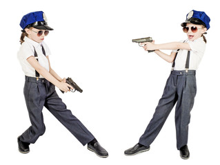 Set. Little policeman gun for concept design. Isolated on white.