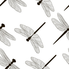Pattern of silhouettes of dragonflies