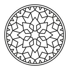 Beautiful Mandala Shape for Coloring. Vector Mandala. Christmas. Oriental. Book Page. Lines