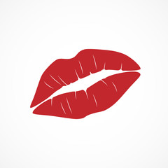 Vector image red lipstick kiss.