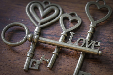 Beautiful Antique Keys With the Word Love