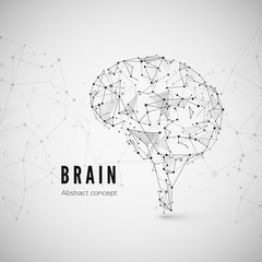 Graphic concept of the brain. Technology and science background with brain icon. Brain is composed of points, lines and triangles. Vector illustration