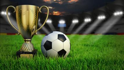 Fußball mit Pokal auf Rasen im Stadion bei Nacht mit Scheinwerfern, 3D Rendering