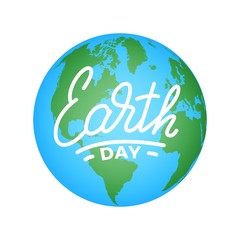 Earth Day. Illustration for Earth Day celebration with Earth globe and lettering