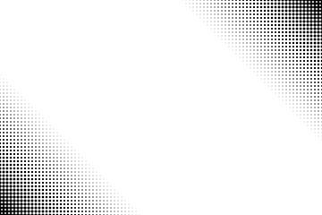 Pop art black and white half tone dots background.
