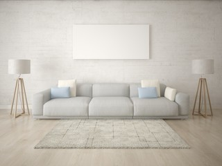Mock up a modern living room with a large sofa and a light hipster background.