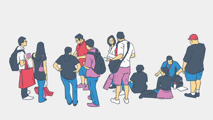 Illustration of people waiting standing sitting in line