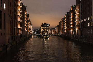 The night cityscape in Speicherstadt of Hamburg