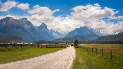 Snow-capped mountains in Mount Aspiring National Park, New Zealand
