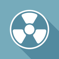hazard, radiation. simple silhouette. White flat icon with long shadow on background