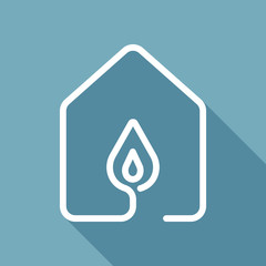 house with fire flames icon. line style. White flat icon with long shadow on background