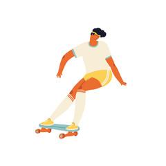 Girl skateboarder ride a skate illustration in vector