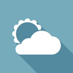 sun and cloud. White flat icon with long shadow on background