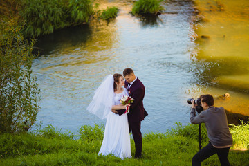 Wedding photoshoot near the river