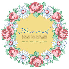 Wreath of chamomile and rose flower, vector floral background, round flower frame, border. Drawn bud pink rose flower and white chamomile hand drawing with a label for text, isolated on white backdrop