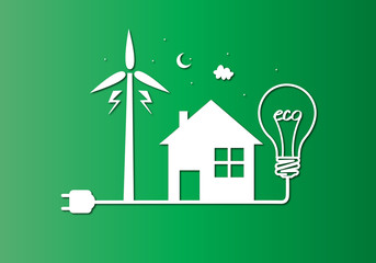 Green eco city with dry tree in light bulb eco concept