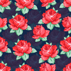 Rose flower hand drawing seamless pattern, vector floral background, floral embroidery ornament. Drawn buds red rose flower and leaves on dark blue backdrop. For fabric design, wallpapers, decorating