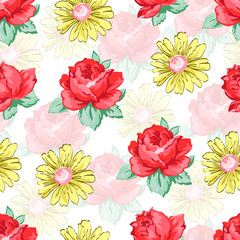 Flower hand drawing seamless pattern, vector floral background, floral embroidery ornament. Drawn buds red rose flower and yellow camomiles on white backdrop. For fabric design, wallpapers, decorating