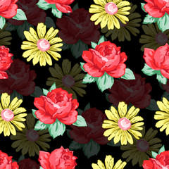 Flower hand drawing seamless pattern, vector floral background, floral embroidery ornament. Drawn buds red rose flower and yellow camomiles on black backdrop. For fabric design, wallpapers, decorating