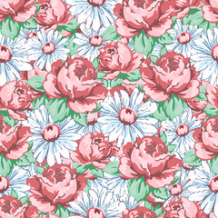 Rose and chamomile flower hand drawing seamless pattern, vector floral background, floral embroidery ornament, solid floral texture. Drawn buds pink rose flower and white chamomile. For fabric design