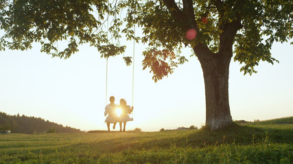 LENS FLARE SILHOUETTE: Sun illuminating hugging couple on tree swing in nature.
