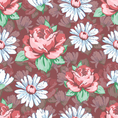 Rose and chamomile flower hand drawing seamless pattern, vector floral background, floral embroidery ornament. Drawn buds pink rose flower and white chamomile on dark pink backdrop. For fabric design
