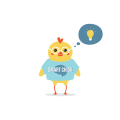 Cute cartoon smart baby chicken character in glasses thinking, has a bright idea. Early childhood education concept.