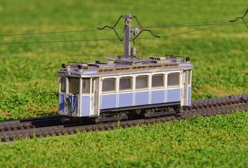 electric tram in miniature. railroad transportation