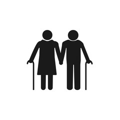 Old woman, man with a cane. Grey on white background. Flat design. Vector illustration.
