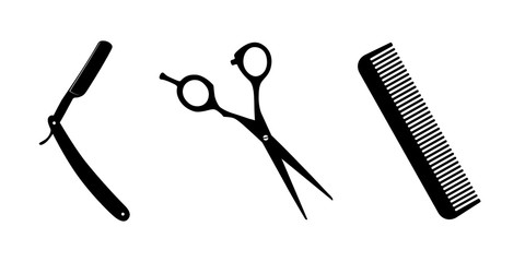 Scissors, knife for shaving, comb on white