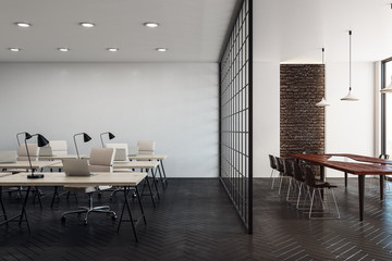 Stylish coworking office with copy space