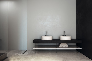 Modern bathroom with sinks and copyspace