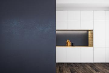 Modern kitchen with empty banner