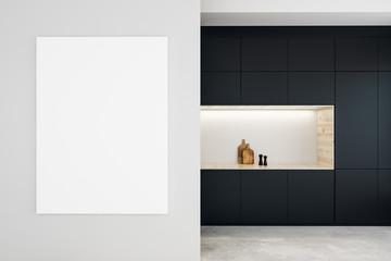 Modern kitchen with empty billboard