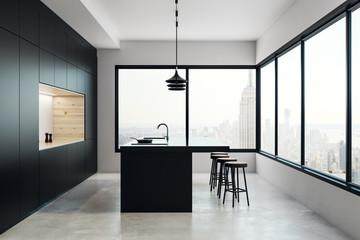 Clean kitchen studio interior