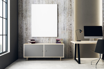 Blank billboard in interior with workplace