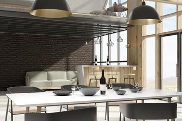 Clean loft interior with furniture