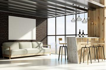 Stylish loft interior with poster